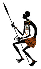 African warrior with spear
