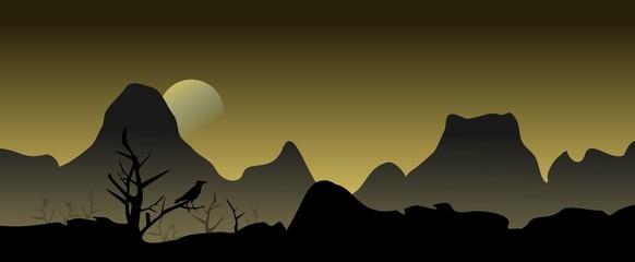 Fantasy Landschaft mit Rabe