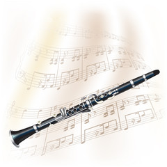 Classical clarinet on white background with musical notes