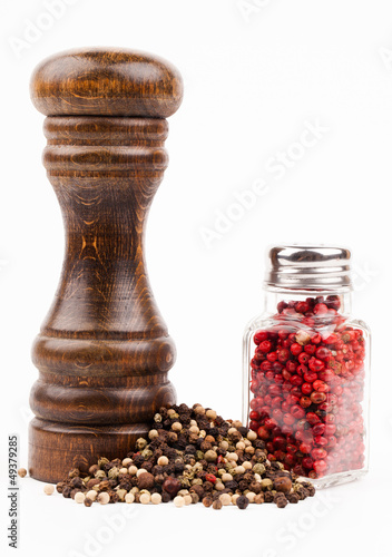 salt shaker and spices isolated on white