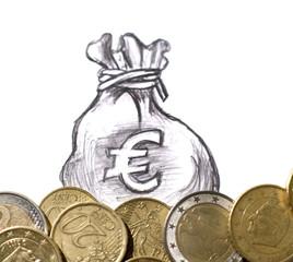pièces de monnaies et sac d'euros