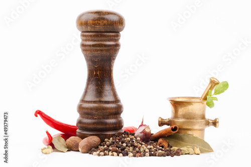 brass mortar with salt shaker and spices isolated on white