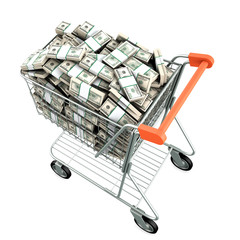 Shopping cart with many dollars. Isolated on white