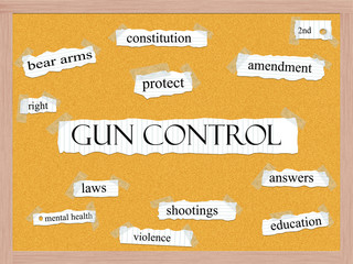 Gun Control Corkboard Word Concept