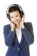 Businesswoman listening the music