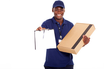 african american delivery man carrying parcel