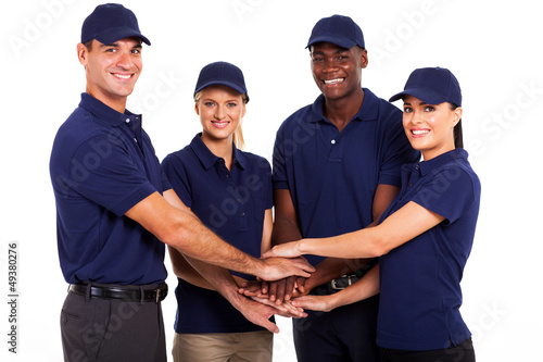 service team hands together on white background
