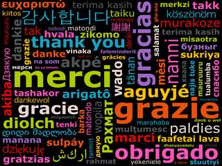 langues étrangères - mot merci dans toutes les langues