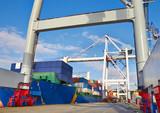 Goliath crane loading of goods poster