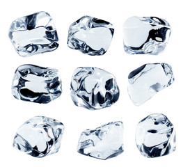 Ice cubes collection, isolated on white background