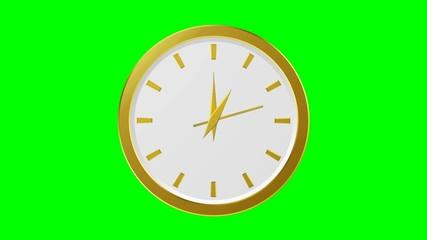 Horloge or - 12 heures - fond vert