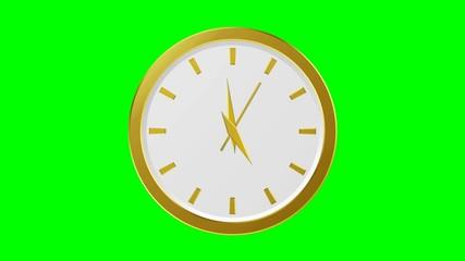 Horloge or - 60 secondes - fond vert