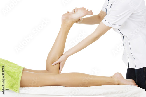 Physio therapist trying to fix the legs