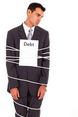 businessman tied with debt isolated on white