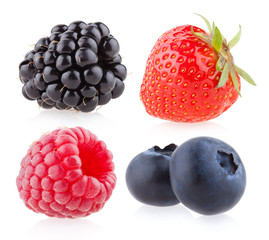 raspberry, strawberry, blueberry and blackberry