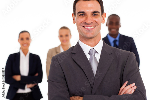 handsome businessman and team isolated on white