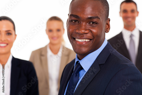 african american businessman and colleagues
