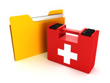 paper folder with medical first aid kit