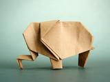 Origami elephant, on grey background