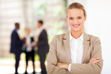 beautiful blond businesswoman portrait in office