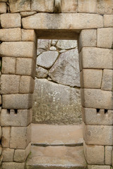 doorway of the temple of Machu Picchu, Peru