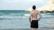 Man standing by the sea, super slow motion, shot at 240fps