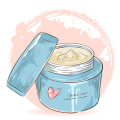 Skincare make-up cream jar isolated card