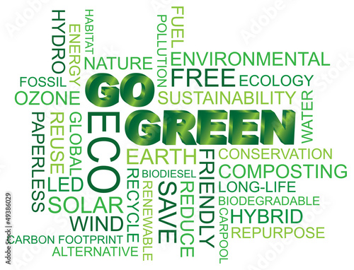 Go Green Word Cloud Illustration