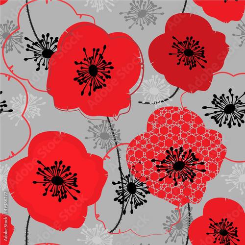 Tuinposter Abstract bloemen Poppy. Seamless pattern
