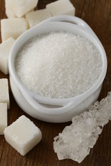 Several types of white sugar
