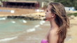 Young woman on the beach, super slow motion, shot at 240fps