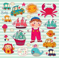 Vector set of cartoon stickers: boy and toys