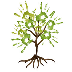 High resolution conceptual painted brown tree with fresh leaves