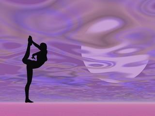 Violet yoga - 3D render