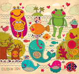 Vector cartoon illustration with happy frogs