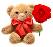Classic teddy bear with red bow holding flower isolated on white
