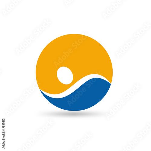 Vector Logo swimming in the sea