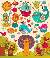 Vector illustration with animals