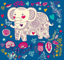 Vector holiday illustration with elephant