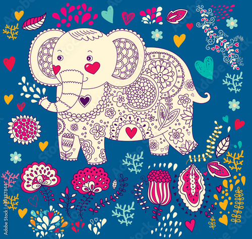 Fototapeta Vector holiday illustration with elephant