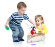 children boy and girl play with educational toy over white backg