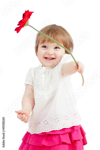 beatiful girl with flower gift, isolated on white