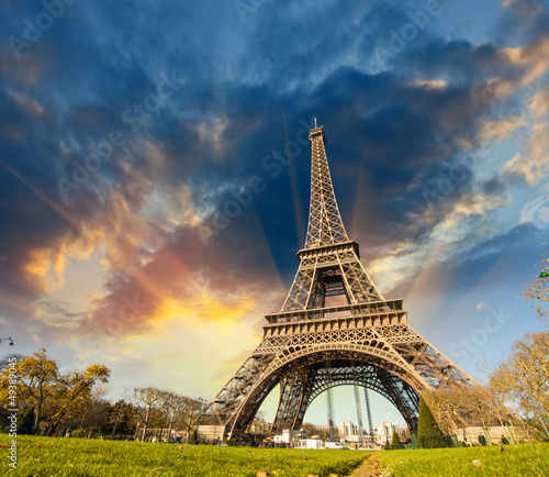 Wonderful view of Eiffel Tower in Paris. La Tour Eiffel with sky - 49389045