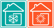 house with snowflake and sun. home conditioner symbol