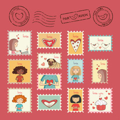 Set of post stamps for Valentine's day
