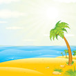 Sunny Tropical Island Beach. Cartoon Vector Illustration