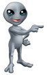 Cartoon Grey Alien Pointing