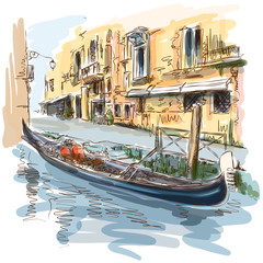 Venice - Ancient building & gondola