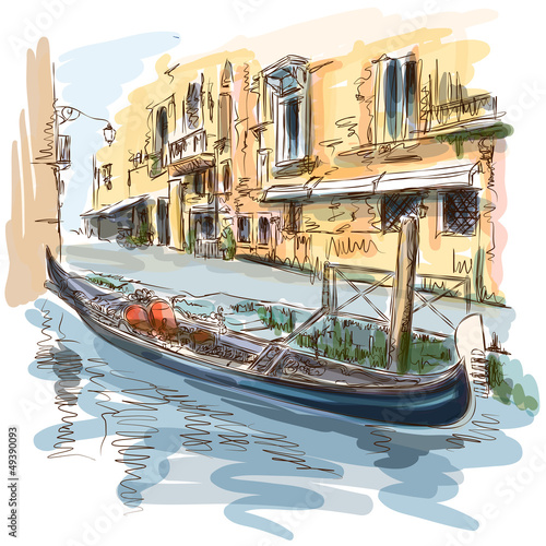 Venice - Ancient building & gondola - 49390093
