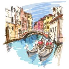 Venice, Italy. 2 gondolas